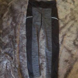 Athleta Leggings M Black Heathered Gray Zipper